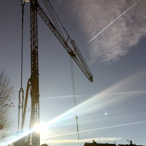 Self Erecting Crane on Residential Construction Project