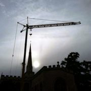 Self Erecting Tower Crane At Holy Trinity Church in Cambridge