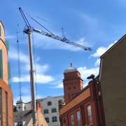 Self Erecting Tower Crane on Hotel development in Newcastle