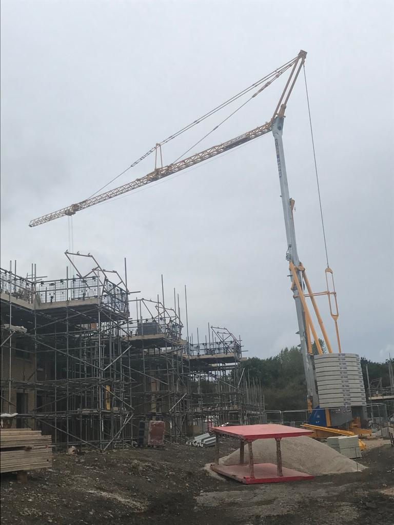 Self Erecting Tower Crane on a New Housing Development in Heanor