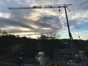 Self Erecting Tower Crane on the Stainton Aqueduct Restoration