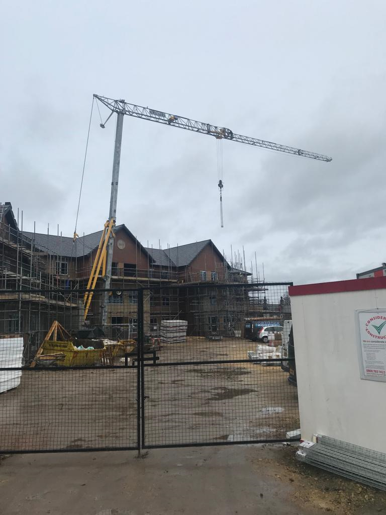 Mantis 35.10 Self Erecting Tower Crane on a new Care Home development in Cleckheaton